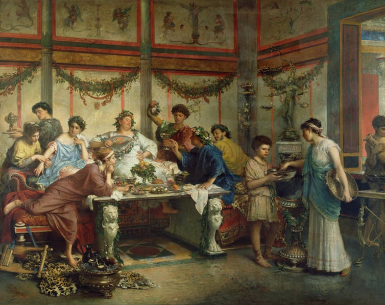 Oil painting of people feasting